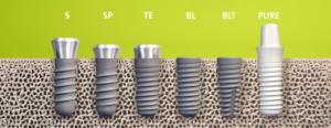 Een voorbeeld van enkele Straumann implantaten (bone - level, standaard, standaard - plus, tapered en zirconium)